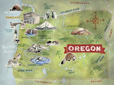 Illustrated Map of Oregon – Sneak Peak hand lettered hand drawn outdoor custom map art illustration map commission oregon illustrated map