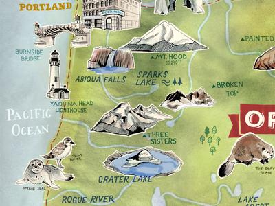 Illustrated Map of Oregon – Sneak Peak