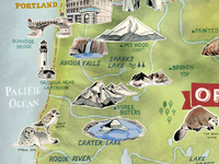 Illustrated Map of Oregon – Sneak Peak