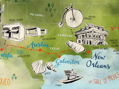 Map Southwestern Usa Roadtrip, Texas–Louisiana louisiana map texas map map art hand drawing usa map illustrated map illustration
