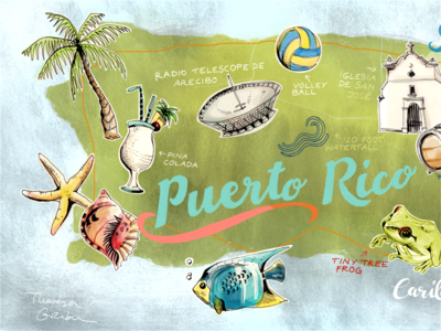Puerto Rico hand drawn Map  puerto rico map hand drawn tropical drawing illustrated map travel map colorful