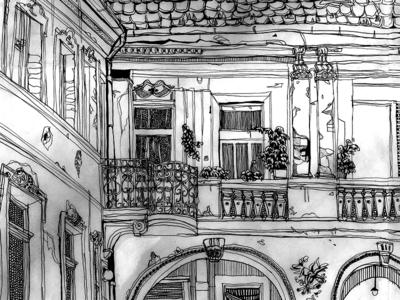 Budapest House Courtyard Drawing prints print pencil drawing pencil art pencil panorama panoramic hungary budapest architecture diary travelillustration travel art blackandwhite handdrawn handdrawing illustration