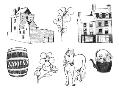 Ireland Doodles blackandwhite pencil predrawing draft scribble doodle ireland drawing linear architecture illustration animals