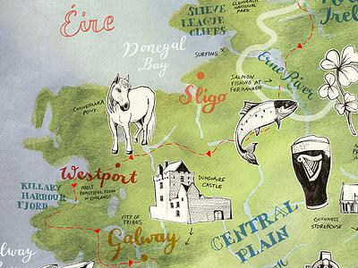 Illustrated Map of Ireland eire irish green travelling travel geography geographic map illustration map art outdoor ireland map commission illustration illustrated map hand lettered hand drawn custom map art