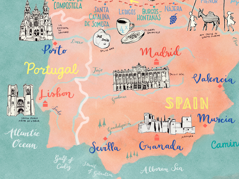 Map Of Spain Drawing.Map Of Spain And Portugal By Theresa Grieben On Dribbble