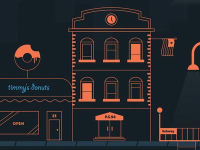 More Hood neighborhood city nyc illustration line art vector donuts bronx