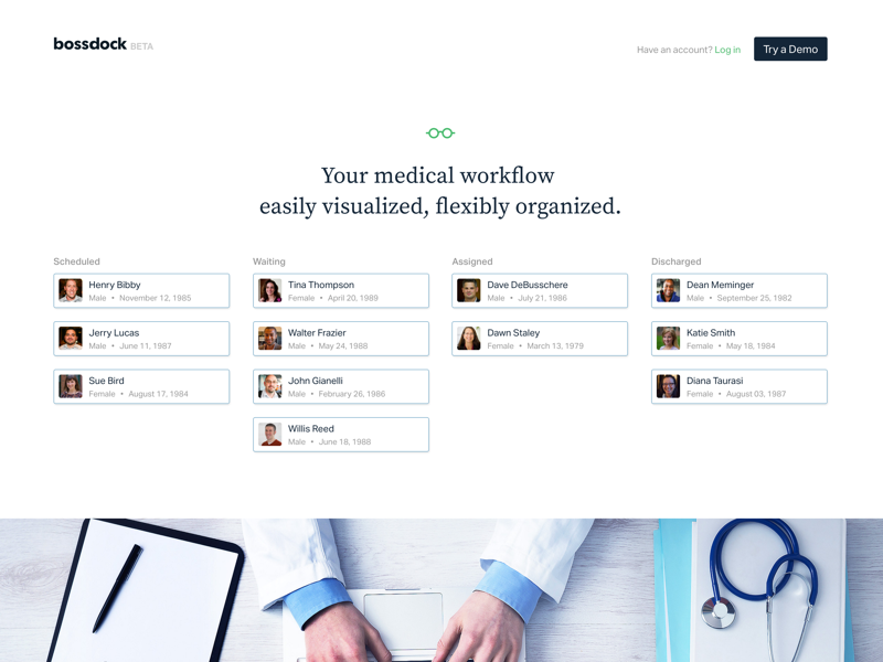Bossdock landing page launched! simple minimal clean healthcare startup landing page