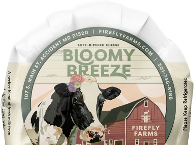 Firefly Farms Bloomy Breeze Cheese Label illustration flowers red cream green fence farm barn cow packaging label design cheese