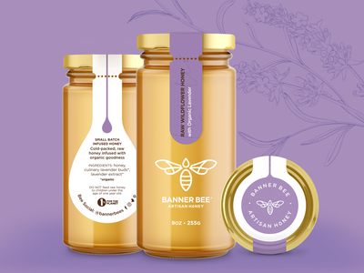 Banner Bee Infused Honey 9oz Jars artisan script sans serif modern clean packagingdesign packaging label design label glass jar yellow purple green matcha turmeric lavender infusion bee honeybee honey