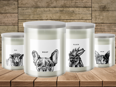 Whiskey Bottom Candle Company Animal Candle Series packaging candle packaging animals illustration lable design label candle