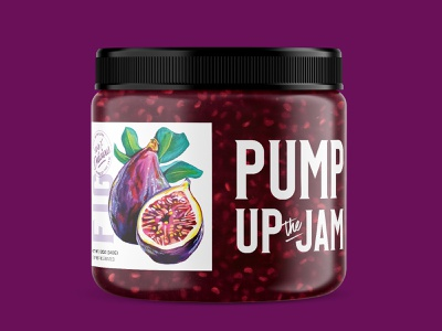 Pump+Rye Pump Up the Jam - Fig fruit label design food packaging food paint fig jam purple painting custom illustration jar screen printing label illustration packaging