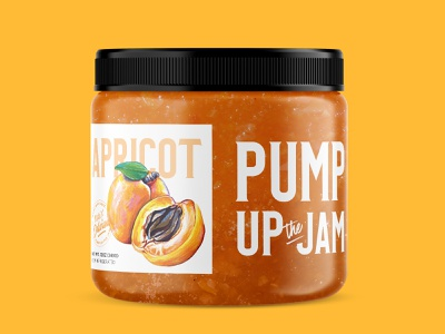 Pump+Rye Pump Up the Jam - Apricot fruit label design food packaging food paint apricot jam yellow painting custom illustration jar screen printing label illustration packaging