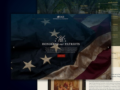 DAR Honoring Our Patriots Website web design web development americana patriot historic design website illustration blue