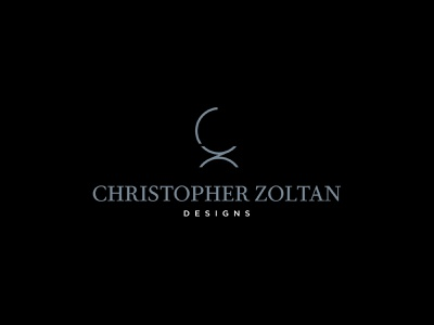Christopher Zoltan Designs Logo modern black blue furniture design interior design design d z c chair logo branding
