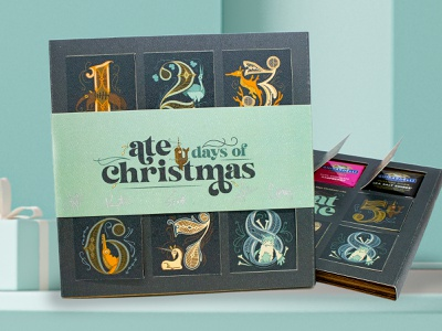 Ate Days of Christmas Advent Calendar handcrafted custom chocolates narwhal orange blue creatures christmas card christmas holiday whimsical illustration handlettering calendar