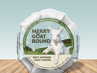 FireFly Merry Goat Round Cheese Label dairy animal farm cream label branding design packagedesign round merry sky illustration wood green blue cheese goat packaging