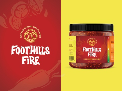 Foothills Fire Hot Pepper Relish food scale heat hot sauce relish pepper flame fire foothills label design green orange design label red logo packaging branding illustration