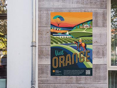 Visit Orange County Virginia Poster love blue green orange art colorful vintage visit attraction museum vineyard winery virginia tourism poster design travel destination branding illustration
