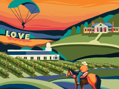 Visit Orange County Virginia Poster skydive horse perspective path museum vintage travel destination blue green orange detailed vineyard winery hills scenic colorful artwork branding illustration