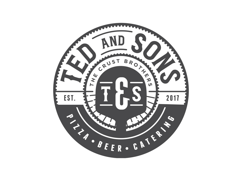 Ted & Sons Logo Concept beer vintage seal logo brick oven food truck pizzeria pizza