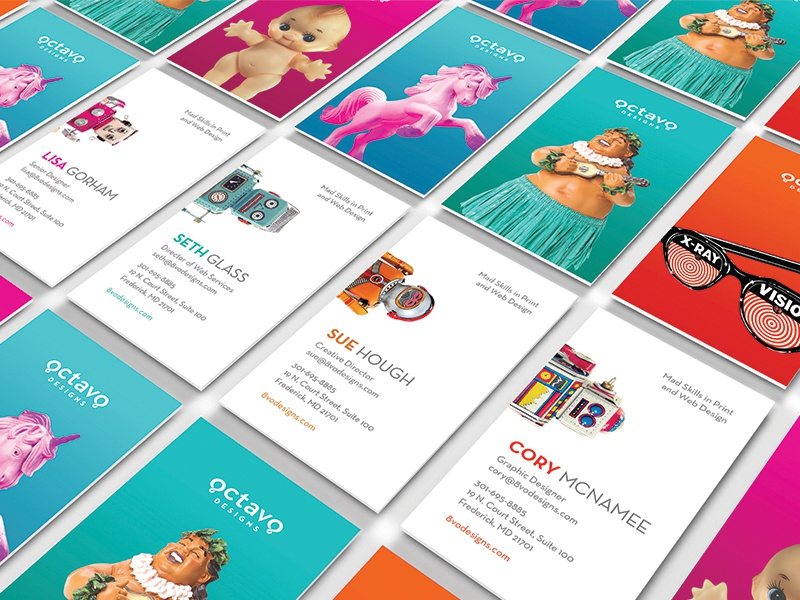 Octavo Designs Stationery Package robot fun bright colorful business card envelope letterhead notebook stationery