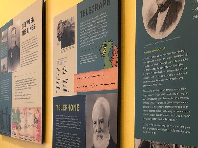 Hands on Exhibit Displays for Heritage Frederick branding green blue illustration history museum exhibit display