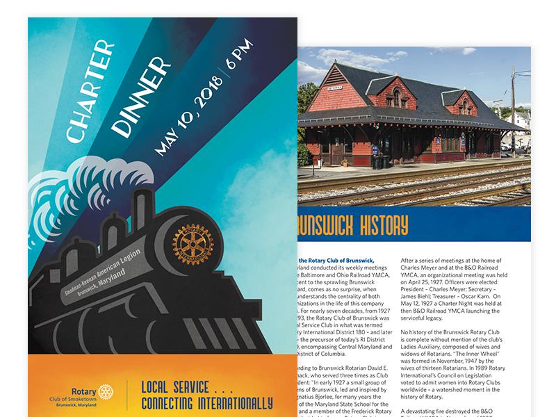 Rotary Charter Dinner Program publication texture illustration art deco train cover program