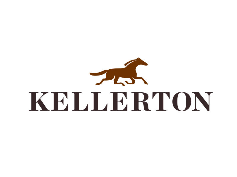 Kellerton Logo and Brandmark brown running development housing community horse