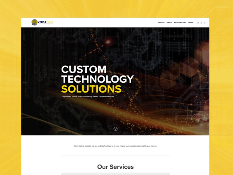 VersaTech Website solutions tech landing page home page minimal website design website web