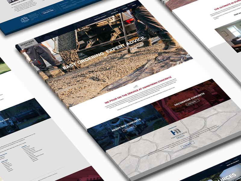 Handyman Concrete Website responsive blue red concrete handyman website webdesign