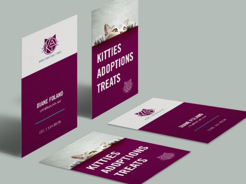 K.A.T. Business Cards collateral stationery kittens purple cat businesscards