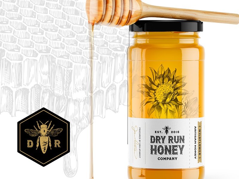 Dry Run Honey Company Packaging labeldesign illustration flower honeybee bee honey design clean packaging branding