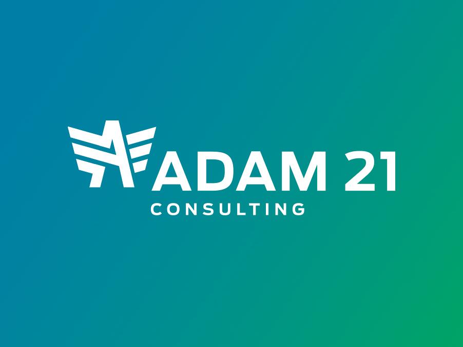 Adam 21 Consulting Logo green blue sans serif wings star identy branding logo