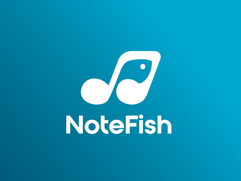 NoteFish Identity negative space san serif logo education online learning music note music note fish gradient blue branding