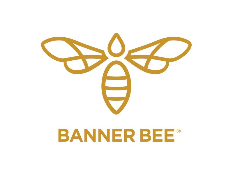 Banner Bee Company Logo organic apiary cosmetics beauty beeswax b wings san serif branding agency identity logo branding gold drop honey bee