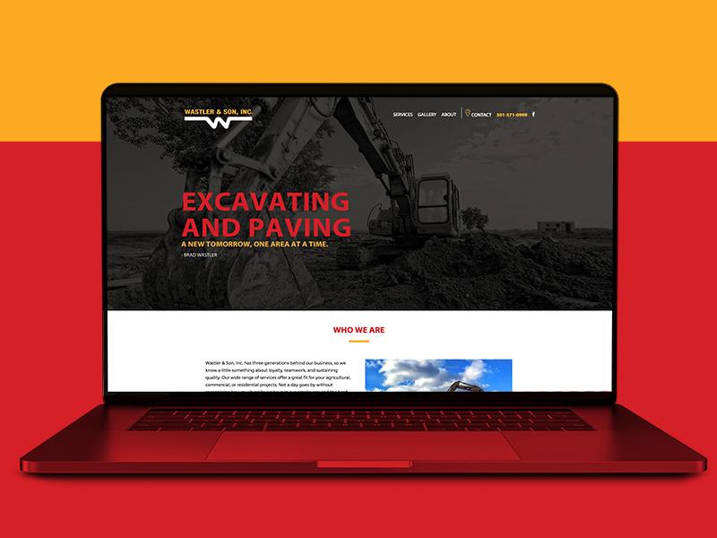Wastler & Son, Inc Website black maryland yellow red responsive design responsive construction paving excavation web design website