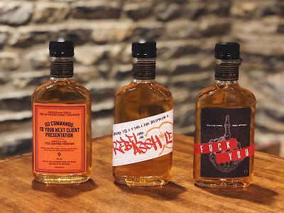 Rebellious Whiskey Labels orange red black skeleton grafitti alcohol whiskey rebellious packaging illustration label design