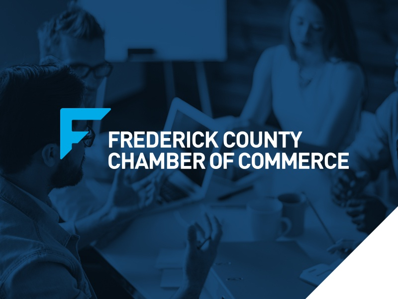 Frederick County Chamber of Commerce Rebrand letterhead business card stationery presentation folder banner design identity design branding and identity chamber of commerce logo design blue branding logo