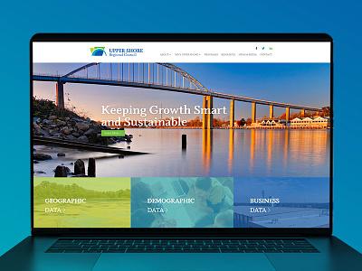 Upper Shore Regional Council Website Redesign economic development upper shore green branding blue graphic design webdesigner webdesign website before and after