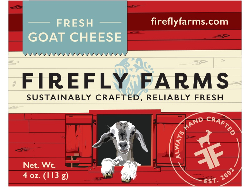 Fresh Goat Cheese Label sustainable hand crafted seal food packaging blue red packaging design firefly farms fresh barn goat cheese goat cheese food label packaging