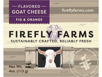 Fig & Orange Flavored Goat Cheese Label food packaging food firefly farms farm goat barn purple packaging design packaging label orange fig flavored goat cheese