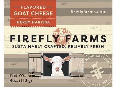 Herby Harissa Flavored Goat Cheese Label seal fresh firefly farms farm barn orange food packaging packaging label packaging label cheese goat flavored goat cheese harissa herbs