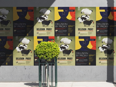 Delusion by Proxy posters eyes sheep play theatre poster design poster graphic design illustration art design illustration