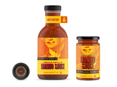 Uncle Dell's Mambo Sauce mumbo sauce mambo sauce label design george washington jar branding food funny brown yellow orange red saucy washington dc barbecue bottle sauce food packaging package design packaging