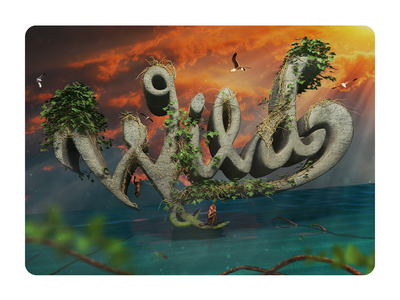 Wild Nature lettering wild animal wildlife wild illustration render art digitalart design piacentino 3d
