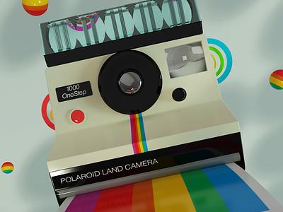 Polaroid Style dribbble vray 3dsmax camera polaroid piacentino graphicdesign illustration color render digitalart design 3d