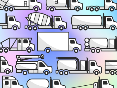Trucks, trucks, and more trucks clean flat minimal iconography icons