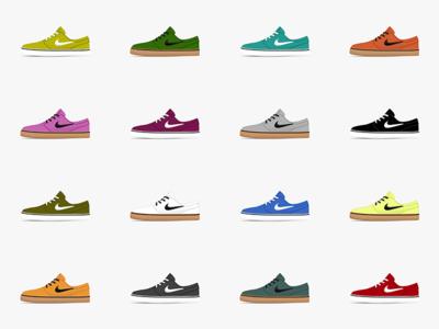 Wall of Nike SB Janoskis