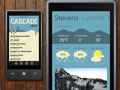 Ski App for WP7 ski snowboard illustration mobile wp7 windows phone