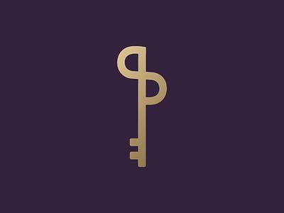 Key + PS flat key ps broker real estate logo